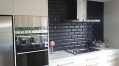 Image Of Black Subway Tile Kitchen Backsplash