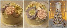 vintage wedding cake and cupcakes with edible assorted flowers