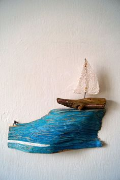 wooden boat on a blue wave Original Illustration by AyeletGadArt