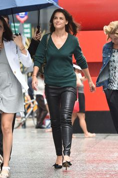 Katie Holmes in leather panths in NYC