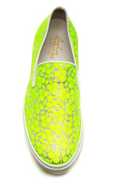 Fluoro Yellow Trifoglio Embroidered Sneakers With Double Sole by Joshua Sanders