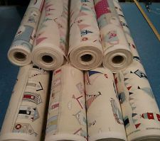 Fryetts 100% Cotton Fabric. Beach Huts, Maritime, Regatta, Tea Time and Bunting!