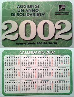 Calendarietto pubblicitario 2002 - Associazione Italiana Sclerosi Multipla