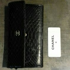 Authentic Python Chanel Wallet A beautiful black wallet that is very light to carry. CHANEL Bags Wallets