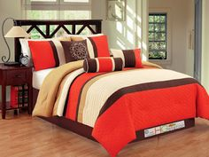 Orange Comforters with all sorts of personalities but with the same low price tag, of course.