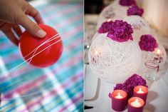 Inspiration: Balloon Thread Wedding Reception Decor. Also with brown thread and blue flowers or vice versa