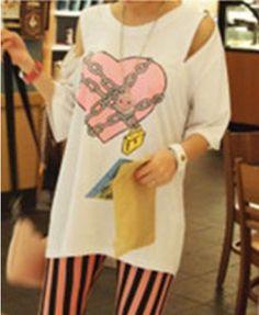 Longline Heart Print T-shirt