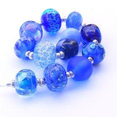Handmade lampwork glass bead set of 12 blue cobalt by SoozBeads