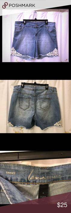 EUC Lane Bryant Lace Detail Cutoff Shorts - 16 These shorts are just too cute - in excellent used condition. They were made to have a broken in feel and are very comfortable. I've lost weight and can no longer wear them, sadly. My loss can be your gain! Lane Bryant Shorts Jean Shorts