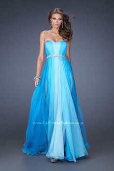 Prom Dress by La Femme 20058. Chiffon A-line gown with a modified sweetheart neckline and an iridescent stone and pearl belt. The ombre effe...