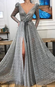 Details - Silver color - Glitter tulle fabric - Handmade embroidered belt - Ball-gown style - Party and Evening dress dress Iris Queen TMD Gown Silver Evening Gowns, Silver Gown, Ny Dress, Dream Dress, Elegant Dresses, Pretty Dresses, Prom Dresses, Formal Dresses, Ladies Dresses