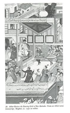 Akbar receives the dancing girls of Baz Bahadur. ca. 1590.
