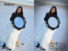 Before and after edits on the mirror photography from our winter wonderland shoot. Mirror Photography, Portrait Photography, Artistic Fashion Photography, Professional Photographer, Pet Portraits, Winter Wonderland, Wedding, Valentines Day Weddings, Weddings