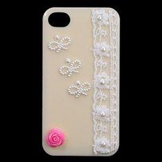 $7.63 Artificial Diamond Flower Protective Plastic Case for iphone 4 4S(Beige) Edealbest.com