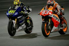 Doha, QATAR - The Doctor sneaks past Marc Marquez and into second place, where he would finish the race. Vale Rossi, Marc Marquez, Vr46, Valentino Rossi, Grand Prix, Yamaha, Racing, Hero, Bike