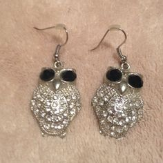 "Silver owl earrings Silver with black & clear stones. About 1.5"" Jewelry Earrings"