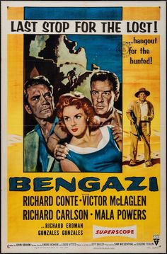 """Bengazi & Other Lot (RKO, 1955). One Sheets (2) (27"""" X 41""""). Drama. Starring Richard Conte, Victor McLaglen, Richard Carlson, and Mala Powers. Directed by John Brahm. Included is a one sheet from Beloved Infidel (20th Century Fox, 1959)."""