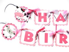 Items similar to Cute Girly White and Pink Farm Animal Party Theme Happy Birthday Banner With Cow Sheep Pig and Chick on Etsy Mother's Day Banner, Diy Banner, Farm Animal Party, Cute Banners, St Patrick's Day Decorations, Winter Parties, Printable Banner, Beautiful Handmade Cards, Happy Birthday Banners