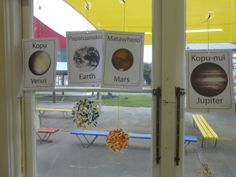 A colourful solar system mobile in the windows