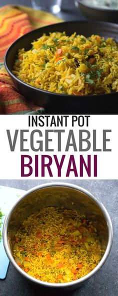 Instant Pot Vegetable biryani is a healthy, one-pot Indian vegetarian rice dish . - Instant Pot Vegetable biryani is a healthy, one-pot Indian vegetarian rice dish that comes together - Vegetarian Rice Dishes, One Pot Vegetarian, Vegetarian Recipes Easy, Indian Food Recipes, Healthy Recipes, Vegetarian Cooking, Cooking Rice, Cheap Recipes, Indian Vegetarian Recipes