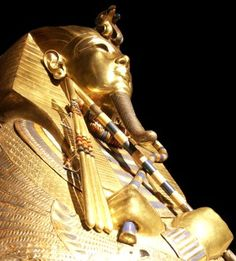 The coffin in which Tutankhamun was entombed was made from 110 kilograms of gold.  The image of the pharaoh holds a crook and flail that symbolized royal power in ancient Egypt.  The treasures of Tutankhamun are now in the Egyptian Museum, Cairo.