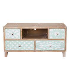 Living Room Tv Wooden 5-Piece Natural Beige / Veran '' Stencil ''