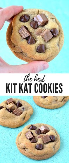 Kit Kat Chocolate Chip Cookies, Desserts, Soft and chewy Kit Kat Chocolate Chip Cookies filled to the brim with Kit Kat candy. These buttery cookies are made with melted butter so they come to. Chocolate Chip Recipes, Homemade Chocolate, Chocolate Chip Cookies, Chocolate Chips, Baking Chocolate, Chocolate Chocolate, Brownie Cookies, Baking Recipes, Cookie Recipes