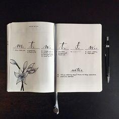 Bullet journal weekly layout, open dailies, minimalist date headers, vertical dailies, flower drawing. | @heythereseven