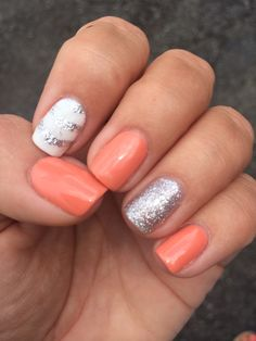 Summer Gel Polish Nails 2014. Coral, White & Silver Glitter. One of my favorites this summer!