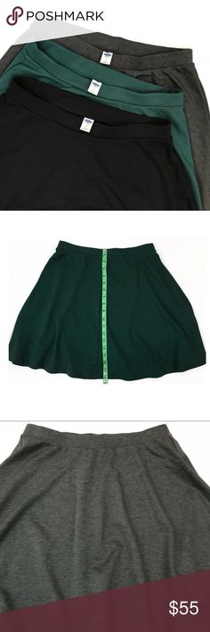Old Navy • Skater Skirts Bundle of 3 Colors Old Navy • Skater Skirts Bundle of 3 Colors is new never worn. Bundle comes with colors green, gray and black. Length of all skirts are 18inches as shown in the pictures. Old Navy Skirts Circle & Skater