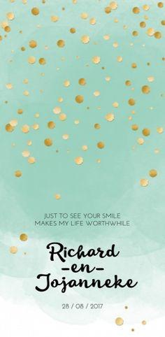 Trouwkaart - Glitters en Goud Watercolor Mint