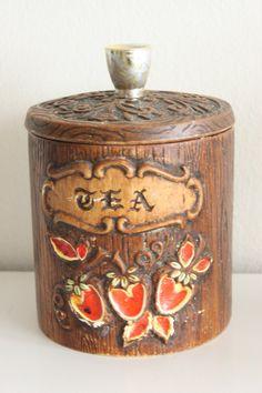 Vintage Treasure Craft Tea Canister Brown Retro---my grandma had these!