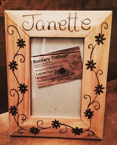 Personalised wooden photo frame custom photo frame floral photo frame picture frame wood burned frame birthday gift decorative frame by RockeryCottage