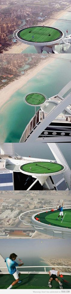 World's Highest Tennis Court in Dubai. - World's Highest Tennis Court in Dubai. what if you hit the ball out, miss, or your opponent sucks……….your screwed then. Tennis Tips, Sport Tennis, Le Tennis, Tennis Clubs, Tennis Players, Tennis Tournaments, Roger Federer, Ansel Adams, Tennis Photos