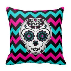 Sugar skull on chevron stripes pattern throw pillow. Very cute decoration for Day of the Dead. #dayofthedead #sugarskull