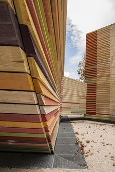 Temporary auditorium in LAquila, L'Aquila, 2012 - RPBW - Renzo Piano Building Workshop, Atelier Traldi #architecture #wood #colours #abruzzo #italy #auditorium