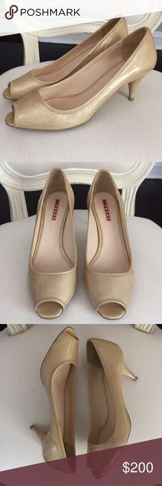 Spotted while shopping on Poshmark: Prada Patent Leather Cream Peep Toe Kitten Heels! #poshmark #fashion #shopping #style #Prada #Shoes
