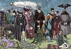 The Evil Garden by Edward Gorey, the surrealist illustrator who inspired Tim Burton's aesthetic