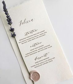@alison_events  sprig of lavender adhered with a beautiful wax seal