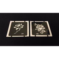 2pc Stem Lotus / Rose GLITTER TATTOO STENCIL SET For Henna Airbrush Facepaint * To view further for this item, visit the image link. (This is an affiliate link and I receive a commission for the sales) #HennaBodyPaint