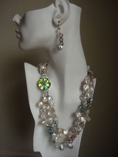 White Keshi Pearl three strand with Green and Pink Quartz Gemstone Necklace and Earrings $1800