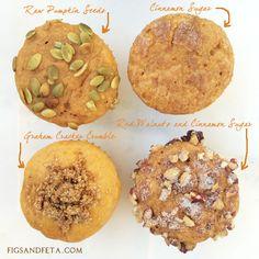 Same Muffin. Different Toppings! Greek Yogurt Pumpkin Spice Muffins.  Recipe on figsandfeta.com