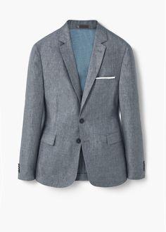 Приталенный пиджак изо льна | MANGO MAN