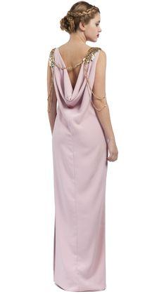 DRESSEOS - vestido largo sin espalda para boda de tarde - Exclusivo vestido  largo sin espalda rosa palo - trajes de fiesta alquiler b69bd199cd4a