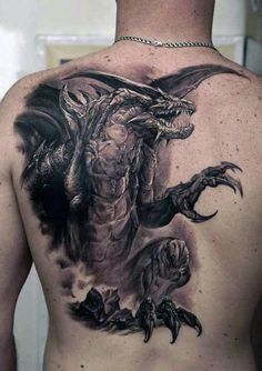 Realistic Male Dragon Back Tattoo Ideas