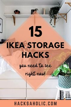 Storage is always an issue. You always fill the space you have! Here are some excellent Ikea storage hacks to help you find more storage space. #ikeastoragehacks #ikeahack #storagehacks Shoe Storage Unit, Shoe Storage Solutions, Ikea Storage, Storage Hacks, Built In Storage, Storage Baskets, Ikea Room Divider, Under Bed Storage Boxes, Fold Down Beds