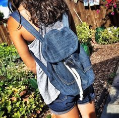 Upcycled backpack from old jeans; and several other denim upcycling projects