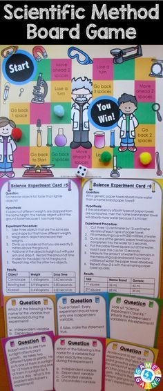 Scientific Method Board Game contains 60 game cards and a game board to help students practice key vocabulary and concepts related to the scientific method. This scientific method game works great as a pair/group activity, or for use in science centers. 4th Grade Science, Elementary Science, Middle School Science, Physical Science, Science Classroom, Science Education, Teaching Science, Science For Kids, Science Activities