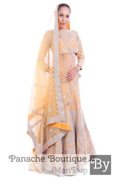 80fae4076e Beige Colour Weddng lehenga in Zardozi Embroidery by Panache Haute Couture.  Contact us to order