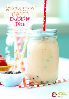 Strawberry Mango Bubble - fun twist on a fruit smoothie and great way to serve fruit to your kids! www.superhealthykids.com